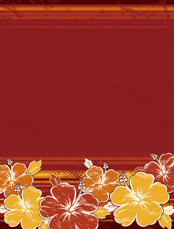 bouquet of hibiscus on red background Illustration