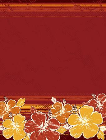 beautiful red hibiscus flower: ramo de hibisco sobre fondo rojo