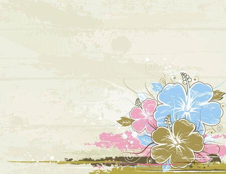 bouquet of hibiscus on beige background