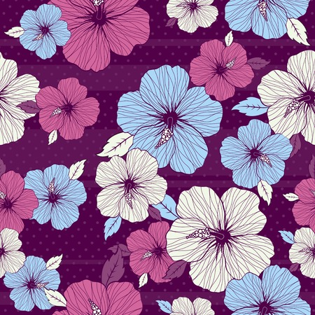 bouquet of hibiscus on purple background Vector