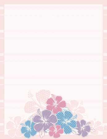 bouquet of hibiscus on pink background Vector