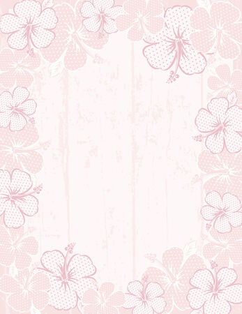 flora vector: frame of hibiscus on pink background