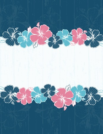 frame of hibiscus on blue background Vector