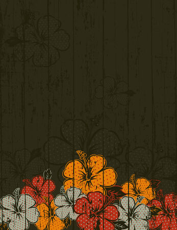 flora vector: bouquet of hibiscus on brown background Illustration