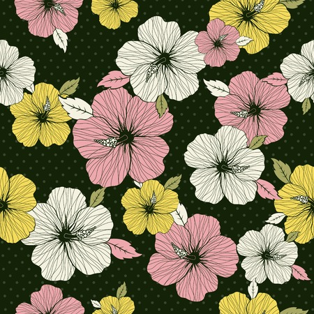 pattern of hibiscus on green background, vector illustration Stock Vector - 3103784