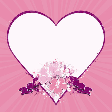 vector message: bouquet of hibiscus  with purple band