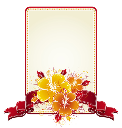 bouquet of hibiscus and rectangular label with red band, vector Illustration
