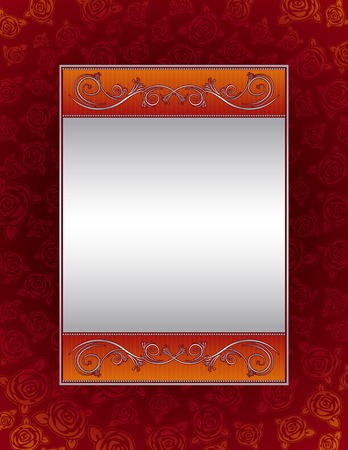 red background with decorative roses, vector illustration Vector