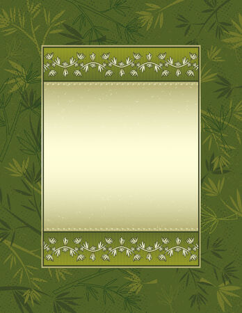 Background with many bamboo on green background, vector illustration Vector