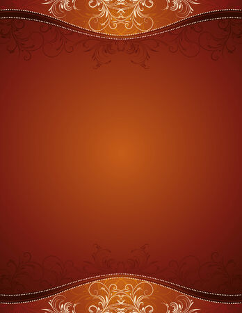 brown background with decorative ornaments, vector illustration