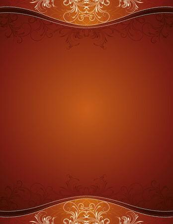fondo marrón con adornos decorativos, ilustración vectorial