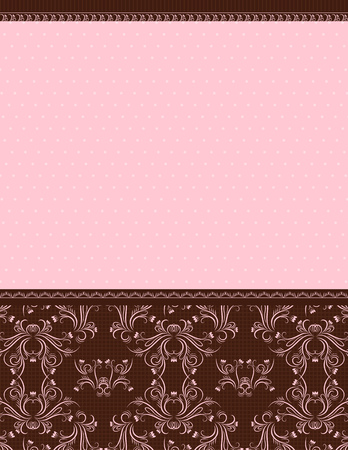 pink background with decorative ornaments, vector illustration Vector