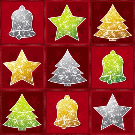knack: nine  christmas toy over red background, vector Illustration