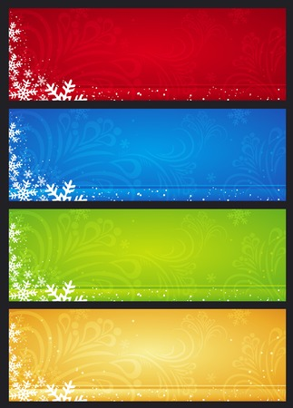 stylization: christmas banners with snowflakes, vector illustration
