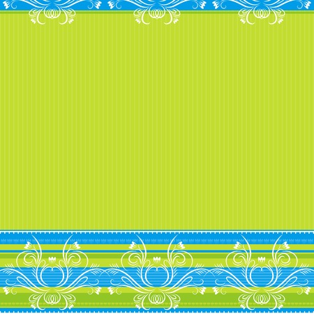 stylization: green  background with decorative ornaments, vector illustration