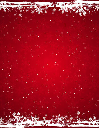 flakes: red grunge christmas background, vector illustration Illustration