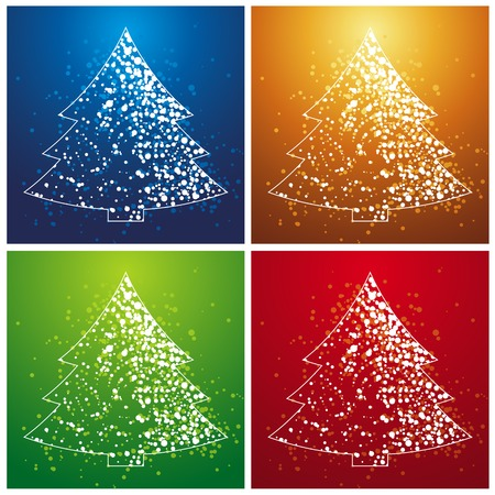 four  christmas trees over color background, vector Vector