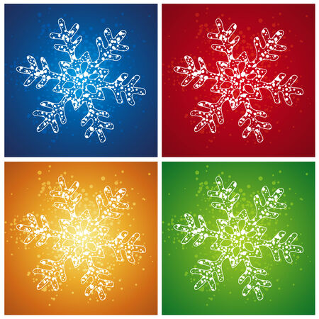 stylization: four  christmas snowflake over color background, vector Illustration