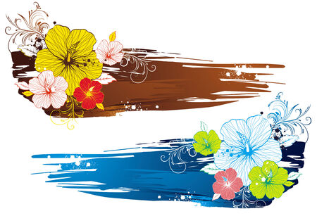 beautiful red hibiscus flower: bouquet of hibiscus on grunge background, vector illustration Illustration