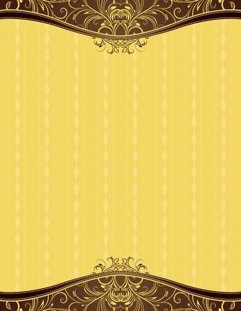 ornaments vector: sfondo giallo con ornamenti decorativi, illustrazione vettoriale