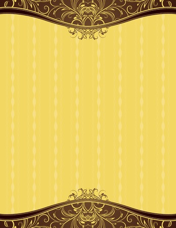ornaments vector: yellow background with decorative ornaments, vector illustration