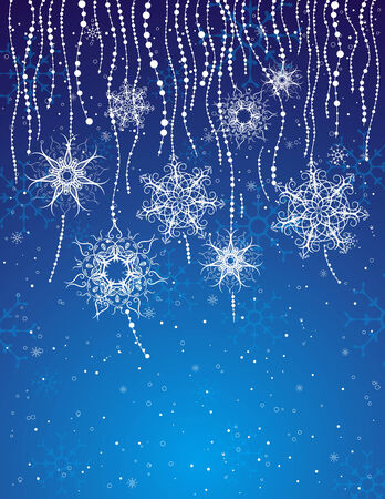 blue card with christmas snowflakes, vector illustration Vector
