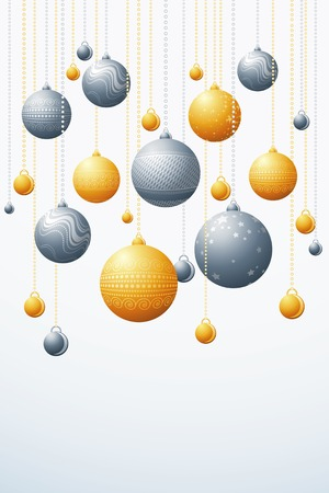 festoon: white card with christmas balls, vector illustration
