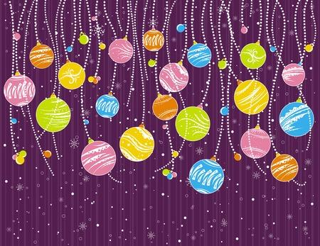 festoon: purple card with christmas garland, vector illustration
