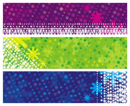 stylization: color christmas banners with snowflakes, vector illustration