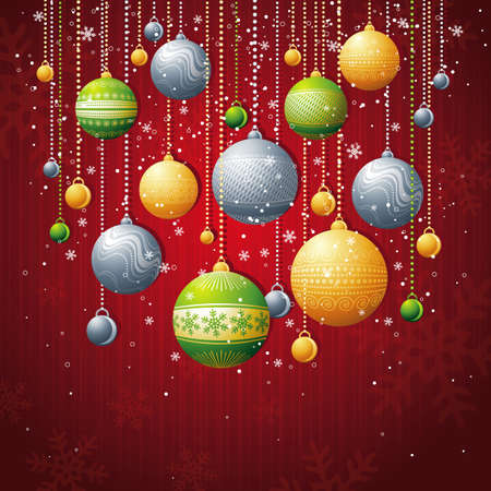 festoon: red card with christmas balls, vector illustration