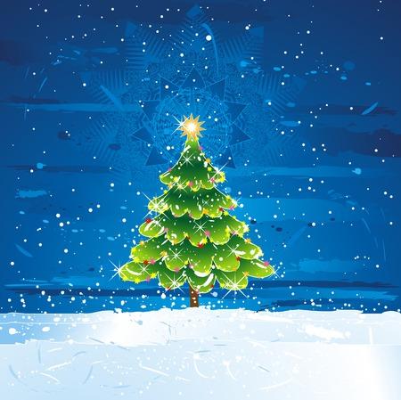 green christmas tree in th dark night, vector illustration