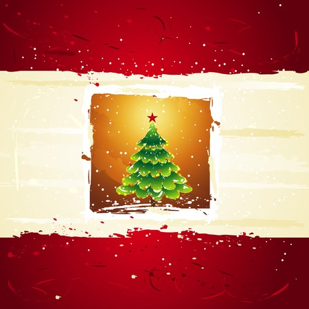 tree trimming: green christmas tree over golden background, vector illustration