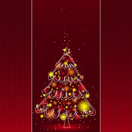 tree trimming: christmas tree  on the red background, vector illustration Illustration