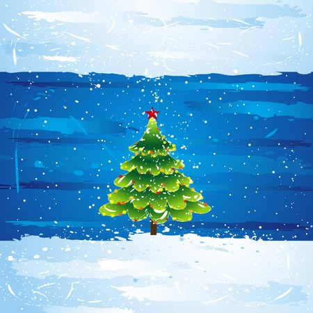 green christmas tree over blue background, vector illustration Vector