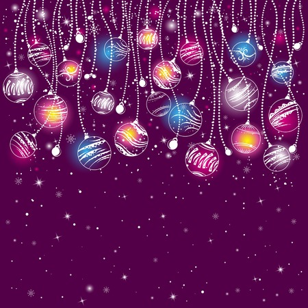 stylization: purple card with christmas balls, vector illustration