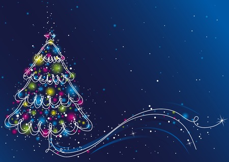 tree trimming: christmas tree  on the blue background, vector illustration Illustration