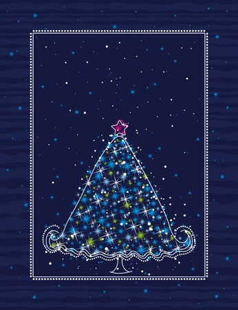 christmas tree  on the blue background, vector illustration Stock Vector - 3570764