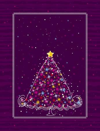 christmas tree  on the purple background, vector illustration Vector