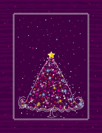 christmas tree  on the purple background, vector illustration Stock Vector - 3593954