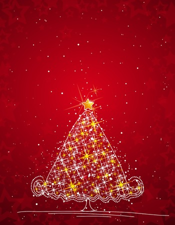 christmas tree  on the red background, vector illustration Stock Vector - 3593955