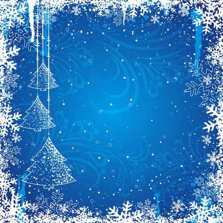 blue christmas background, vector illustration Stock Vector - 3640562