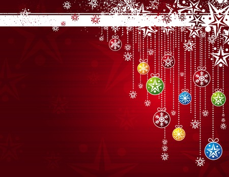 christmas vector: red card with christmas balls, vector illustration
