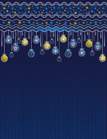 blue card with christmas balls, vector illustration Vector