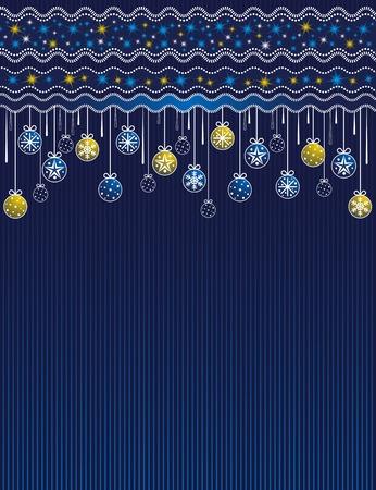 blue card with christmas balls, vector illustration Illustration