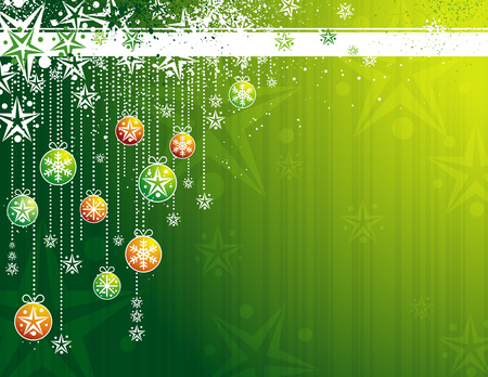green card with christmas balls, vector illustration Stock Vector - 3685928