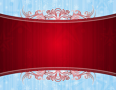 red background with decorative ornaments, vector illustration Vector