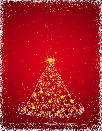 yellow alder:  christmas tree  on the red background, vector illustration Illustration