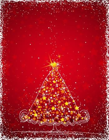 lustre:  christmas tree  on the red background, vector illustration Illustration