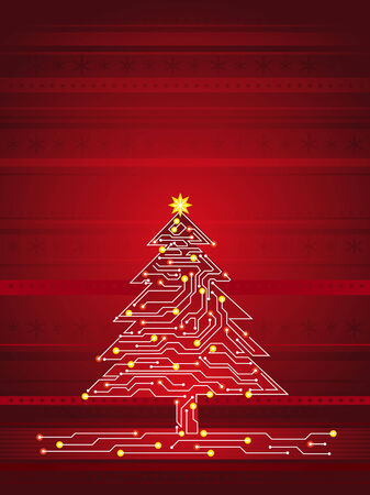 christmas tree  made of electronics elements, vector illustration Vector