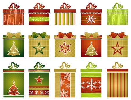 fifteen color christmas gifts , vector illustration